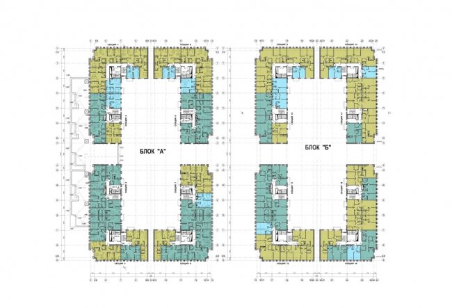 The housing complex on the territory of Petmol Factory. Plan of the 2nd floor at elevation +3,900,+7,200