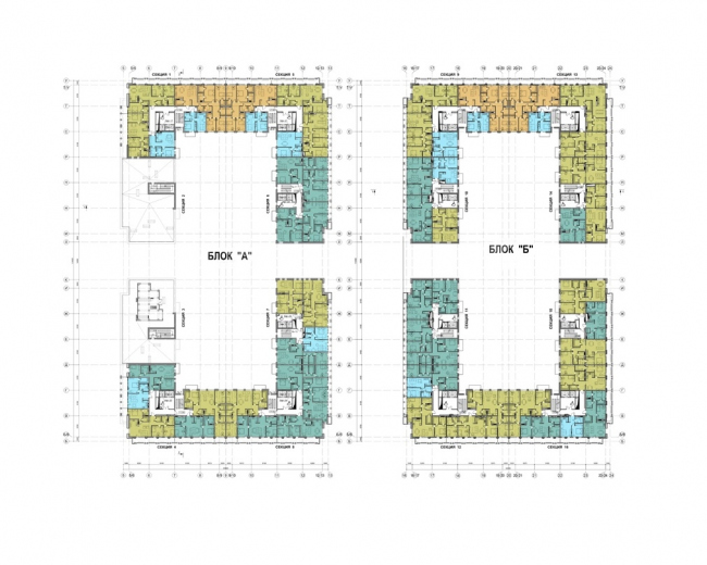 The housing complex on the territory of Petmol Factory. Plan of the 2nd floor at elevation +17,550, +20,850