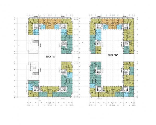 Жилой комплекс на территории комбината «Петмол». План 6,7 этажей на отм. +17,550, +20,850
