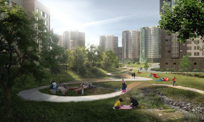 Линейный парк в жилом районе «Скандинавия»