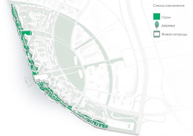 Концепция благоустройства пешеходных зон и общественных пространств на намывных территориях Невской губы. Схема озеленения