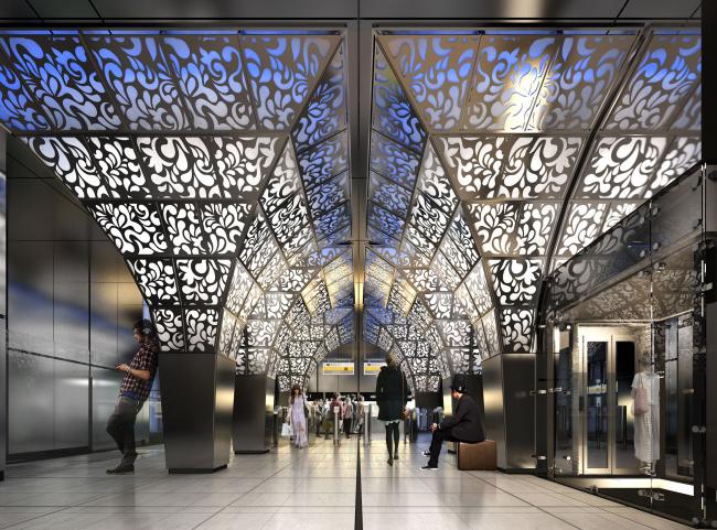 Интерьер публично доступной части станции метро «Новопеределкино» © United Riga architects (URA)