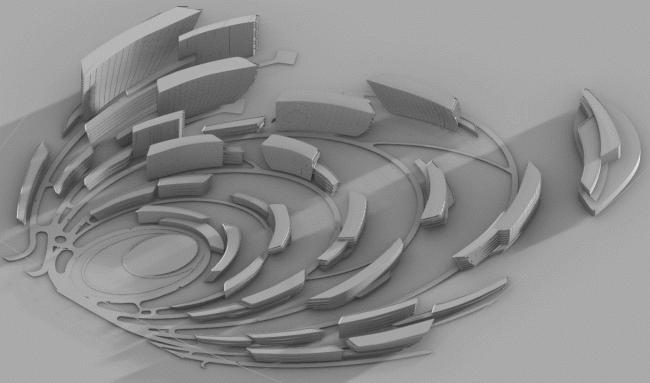 Концепция застройки нового микрорайона в Южно-Сахалинске. Расчет продолжительности инсоляции © Zaha Hadid Architects