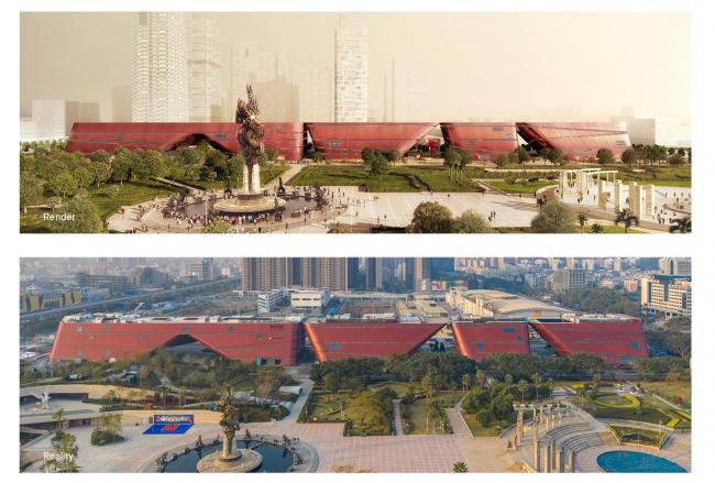 Культурный центр района Лунган. Рендер © Mecanoo Architects, фото © Zhang Chao