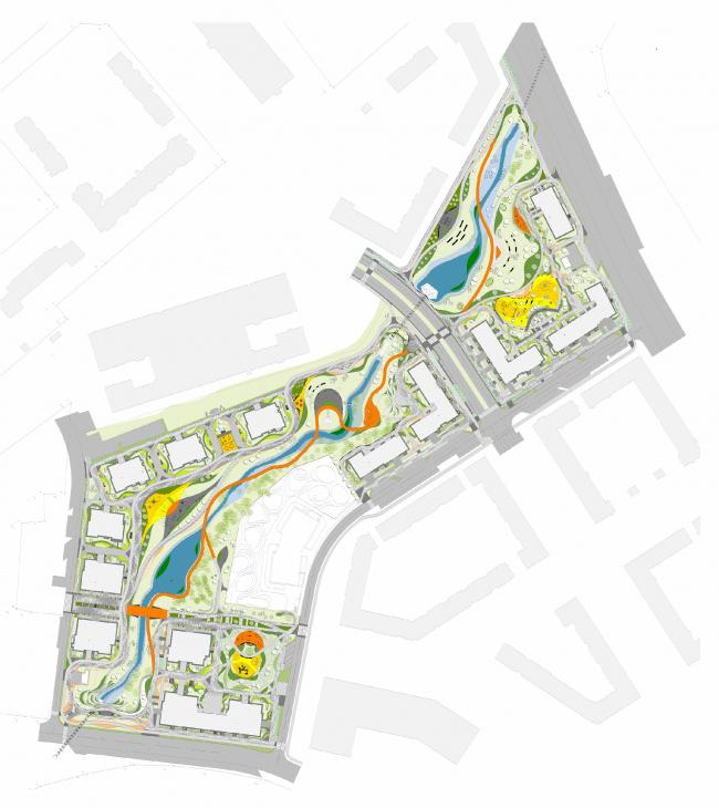 Линейный парк в жилом районе «Скандинавия». Генплан