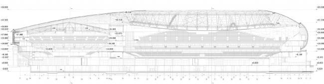 Реконструкция стадиона «Динамо». ВТБ Арена Парк. Продольный разрез