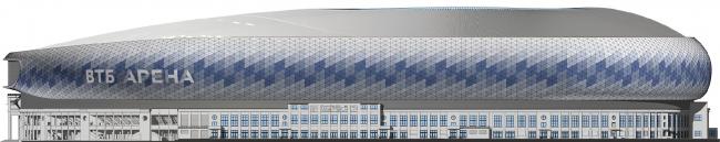 Реконструкция стадиона «Динамо». ВТБ Арена Парк. Фасад южный