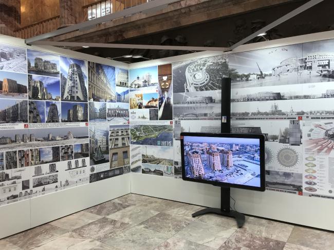 Экспозиция архитектурной мастерской Мамошина на выставке «Архитектура Петербурга 2019»