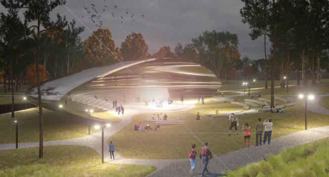 Концепция модернизации центрального парка в Красногорске. Многофункциональный театр «Линза»