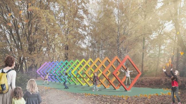Концепция модернизации центрального парка в Красногорске. Детская фотозона «Сказочная перспектива»