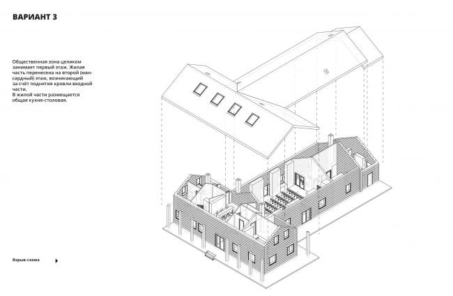 Проект реконструкции сельского клуба в культурный центр в селе Косаричи. Решение 3 © Творческое объединение «Дмитровка»