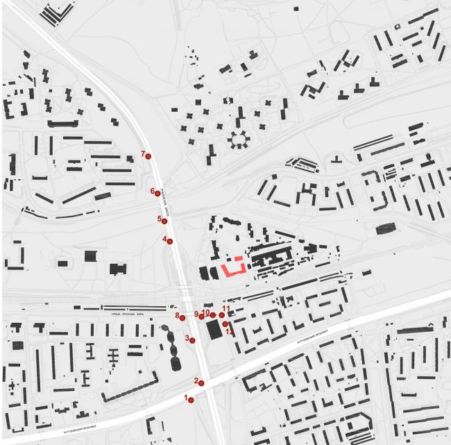 МФК с жилыми помещениями для временного проживания на ул. Ивана Франко. Схема расположения