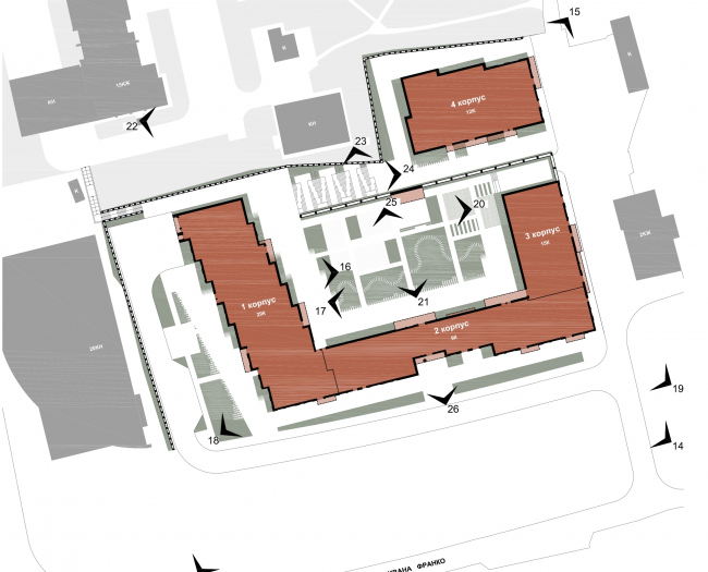 МФК с жилыми помещениями для временного проживания на ул. Ивана Франко. Схема расположения видовых точек