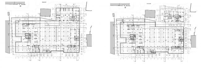 МФК с жилыми помещениями для временного проживания на ул. Ивана Франко. План -2 и -1 этажей