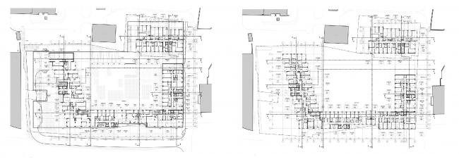 МФК с жилыми помещениями для временного проживания на ул. Ивана Франко. Планы 1 и 2 этажей