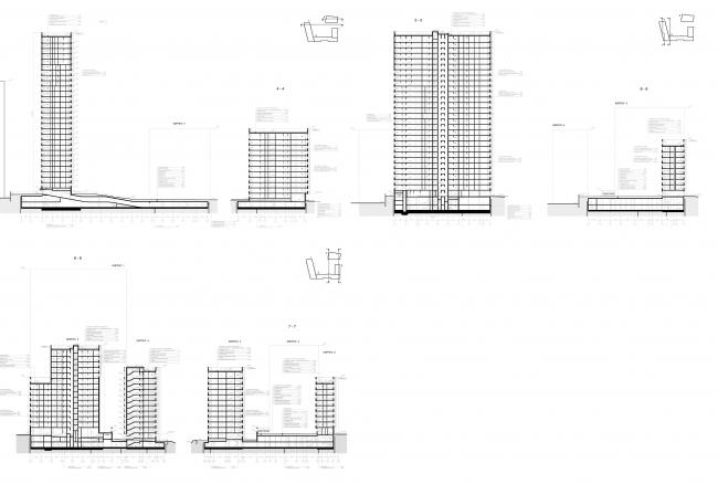 МФК с жилыми помещениями для временного проживания на ул. Ивана Франко. Разрезы