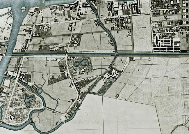 Историческая карта 1828 года территории завода «Красный треугольник»