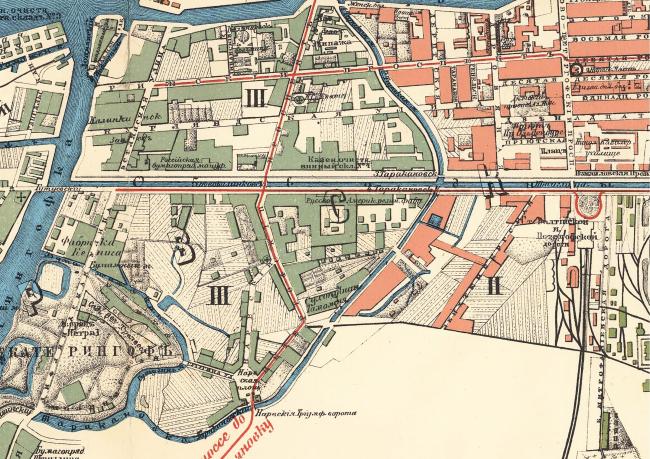 Историческая карта 1905 года территории завода «Красный треугольник»