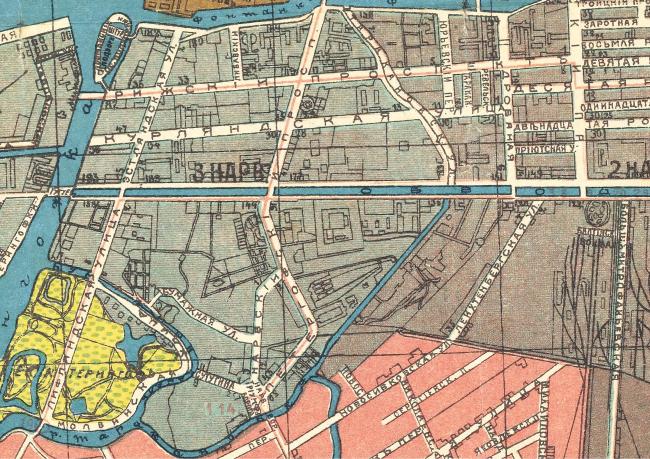Историческая карта 1918 года территории завода «Красный треугольник»