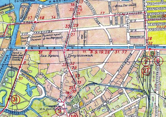 Историческая карта 1933 года территории завода «Красный треугольник»