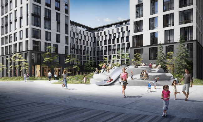 "ILOVE housing complex. Fragment of the central ""Sun"" Square"