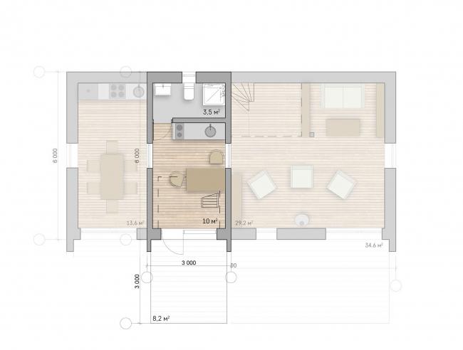 Микродом. План 1 этажа