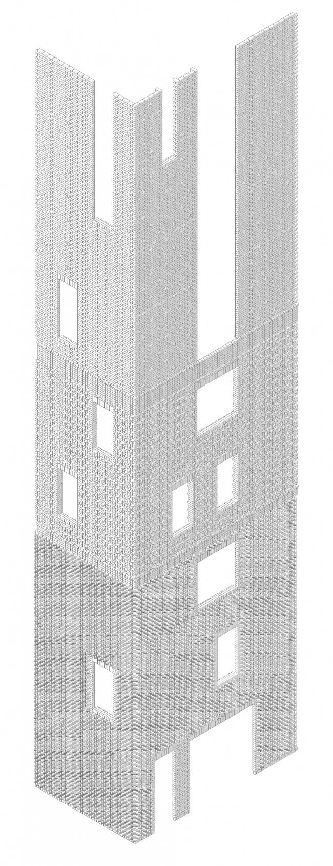 Edison House. Аксонометрия кирпичной кладки. Проект 2018 года