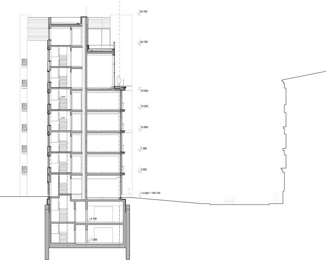 Edison House. Разрез 1-1. Проект 2018 года