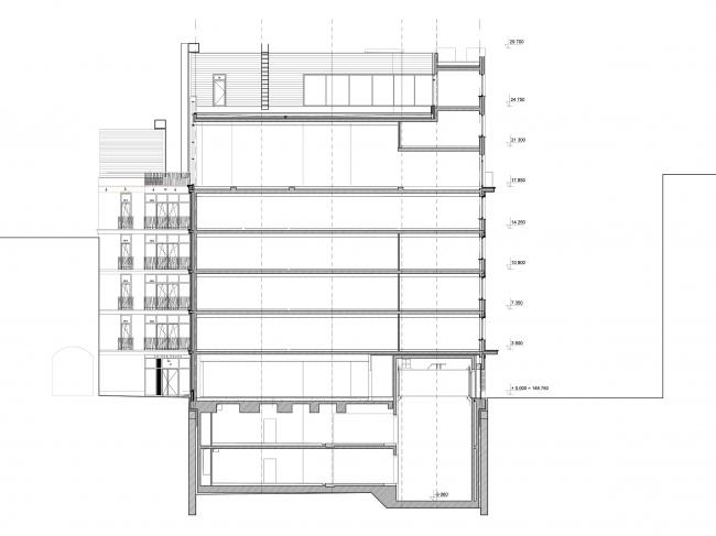 Edison House. Разрез 2-2. Проект 2018 года