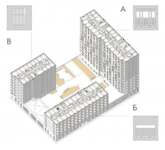 Жилой комплекс ЗИЛАРТ (лот №4). Аксонометрия