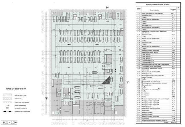 Жилой комплекс ЗИЛАРТ (лот №4). План -1 этажа