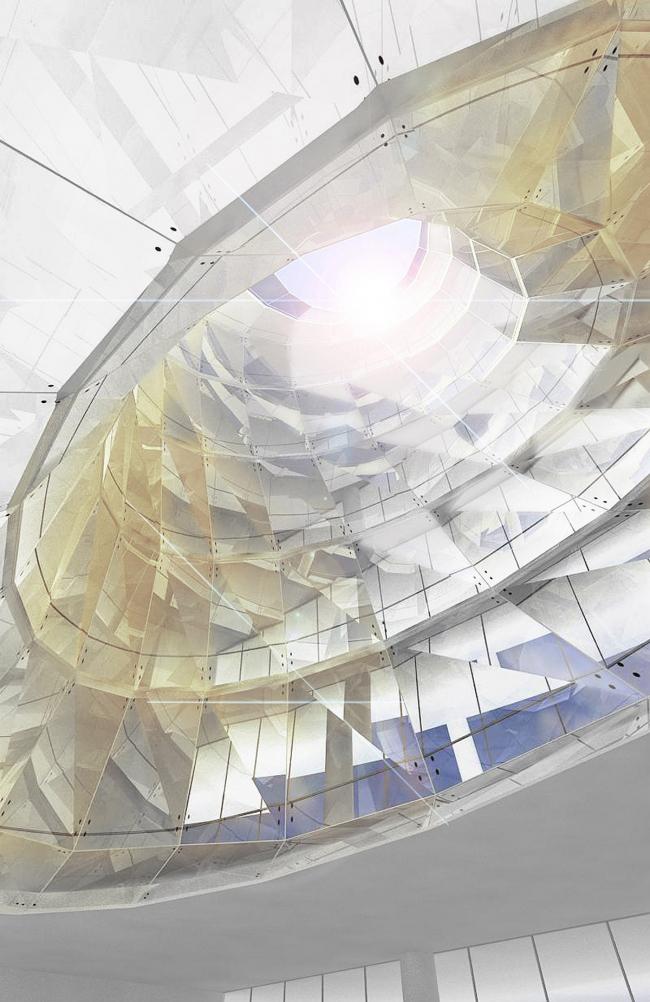 Реконструкция офисного здания на улице Щепкина. Проект, 2009. Вид атриума © ADM