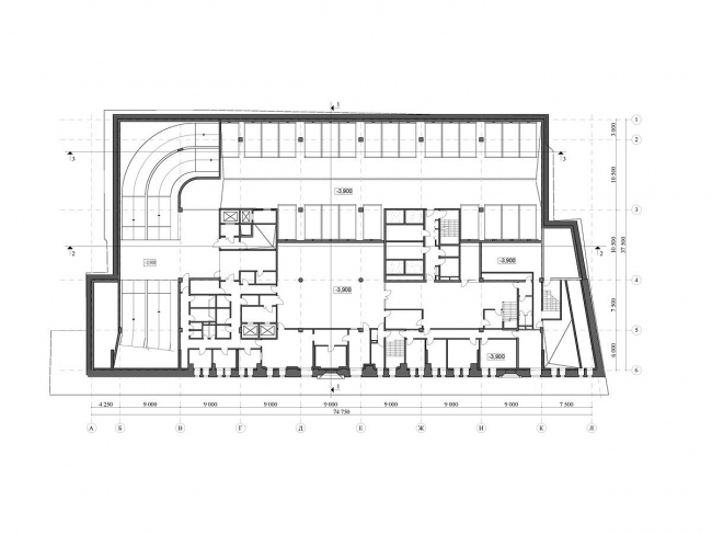 Реконструкция офисного здания на улице Щепкина. Проект, 2009. План -1 уровня © ADM