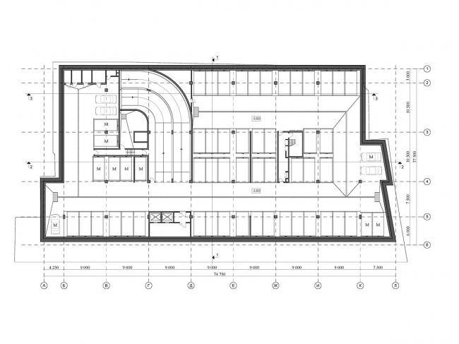Реконструкция офисного здания на улице Щепкина. Проект, 2009. План -2 уровня © ADM