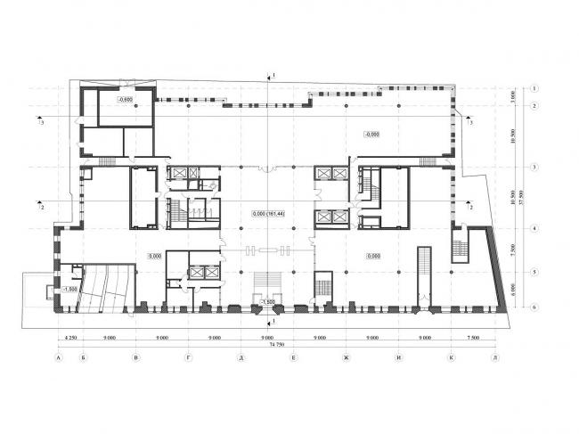 Реконструкция офисного здания на улице Щепкина. Проект, 2009. План 1 этажа © ADM