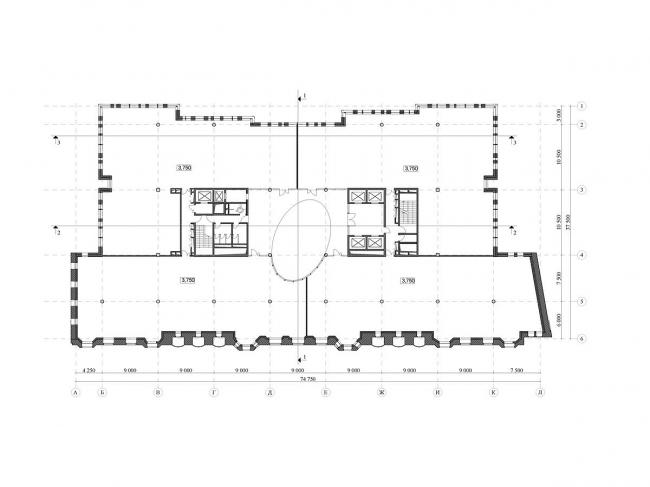 Реконструкция офисного здания на улице Щепкина. Проект, 2009. План типового этажа © ADM