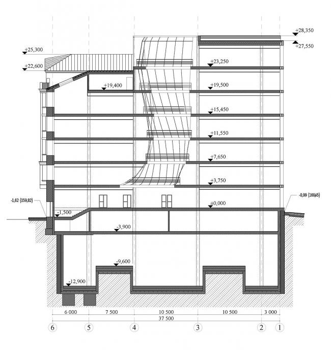 Реконструкция офисного здания на улице Щепкина. Проект, 2009. Разрез © ADM