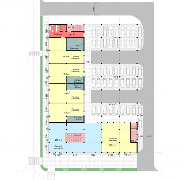 Концепция общественного центра в г.Воткинск. 1 этаж