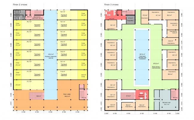 Концепция общественного центра в г.Воткинск. 2 и 3 этажи