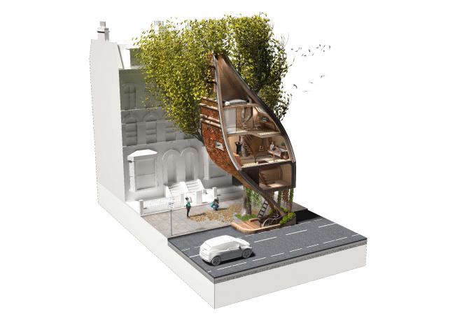 Проект «Уличные модули на деревьях»
