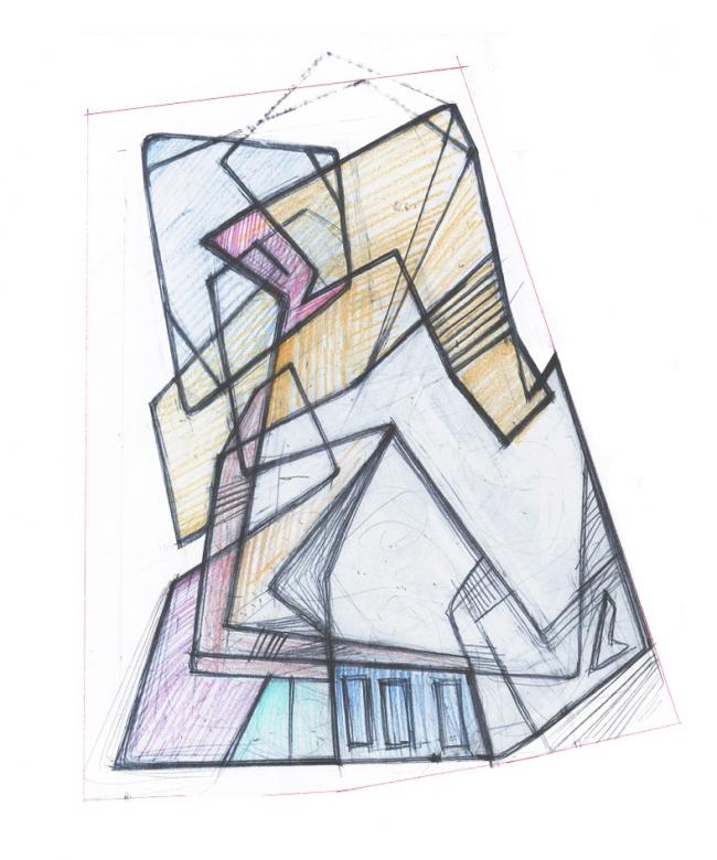 Дом «Пружина»: эскиз-схема «узла» пространств