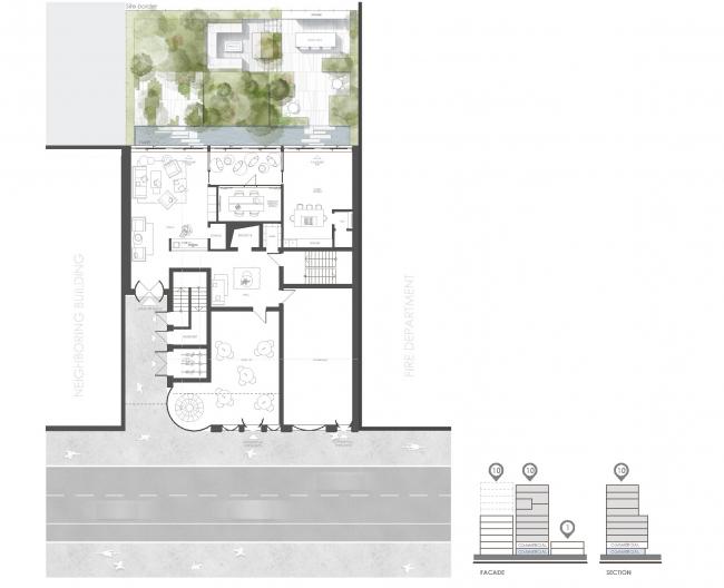 Snail Apartments housing complex. The public space