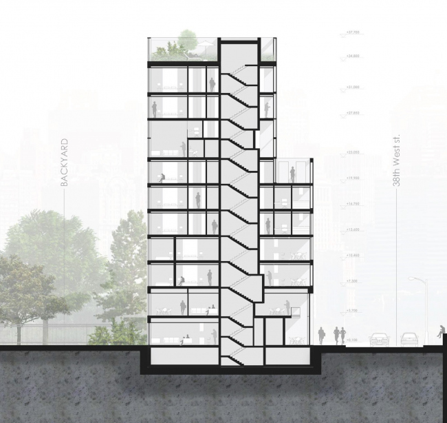 Комплекс Snail-apartments. Разрезы