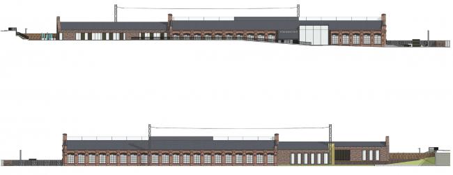 Концепция капитального ремонта бывшего вагонного депо. Фасады 1,2