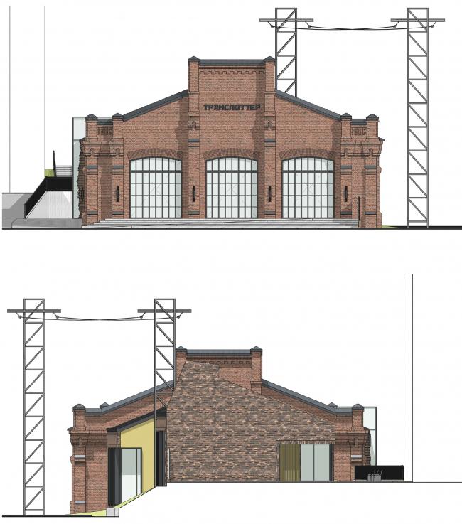Концепция капитального ремонта бывшего вагонного депо. Фасады 3,4