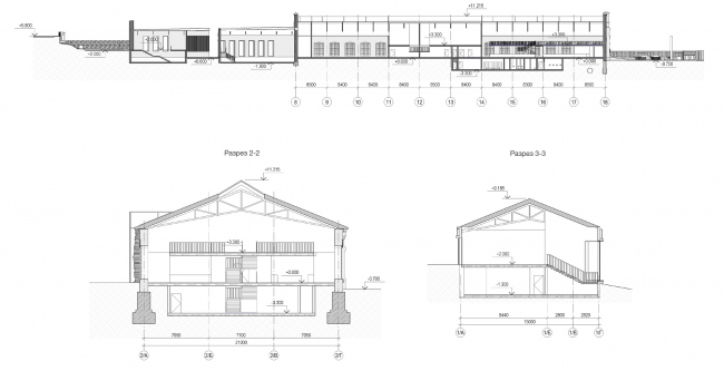 Concept for overhauling the former railroad car depot. Section views