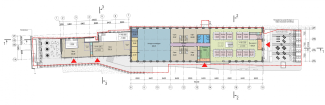 Концепция капитального ремонта бывшего вагонного депо. План 1 этажа