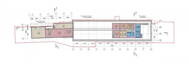 Концепция капитального ремонта бывшего вагонного депо. План -1 этажа