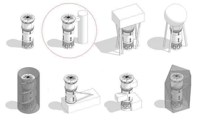 Концепция редевелопмента водонапорной башни Highlight. Поиск формы