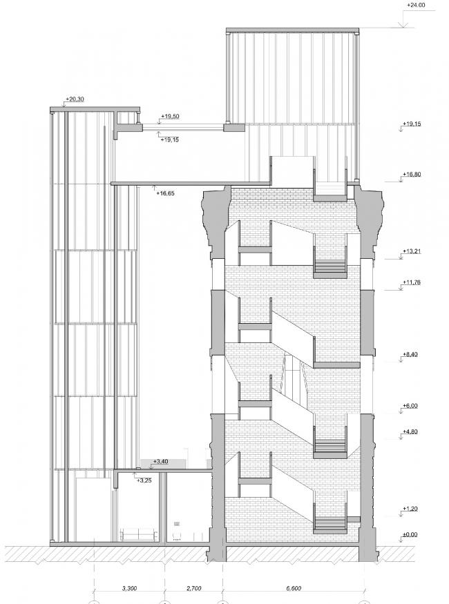 Концепция редевелопмента водонапорной башни Highlight. Разрез 1-1